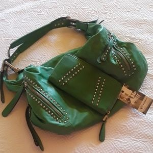 B.makowsky green soft leather purse and wallet.